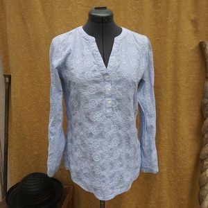Light Blue 3 Button Pullover Cotton GAP Top